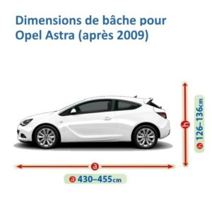 bâche pour opel astra dimensions